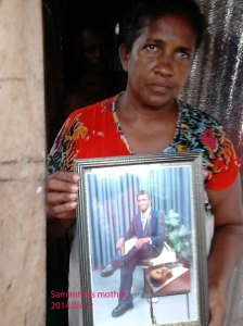 Samantha's mother with his photo